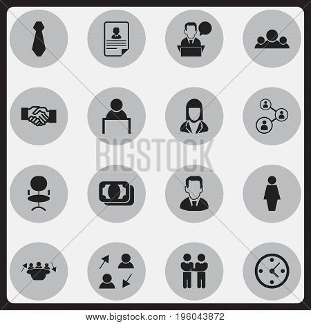 Set Of 16 Editable Business Icons. Includes Symbols Such As Team, Talking Man, Clock And More
