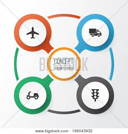 Transportation Icons Set. Collection Of Van, Skooter, Stoplight And Other Elements
