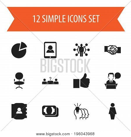 Set Of 12 Editable Business Icons. Includes Symbols Such As Talking Man, Idea, Like And More