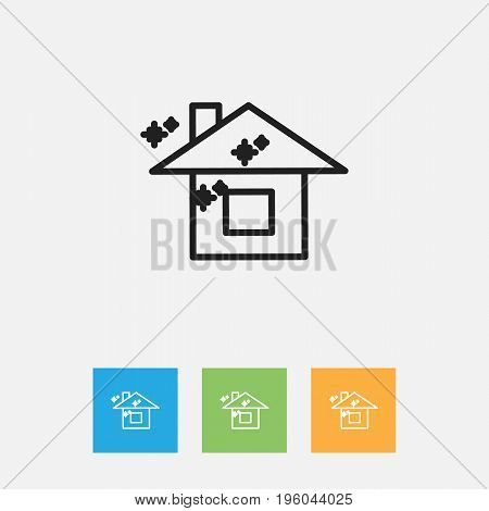 Vector Illustration Of Cleanup Symbol On Pure Home Outline