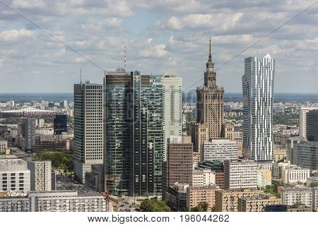 Warsaw city downtown panorama during sunny day Poland