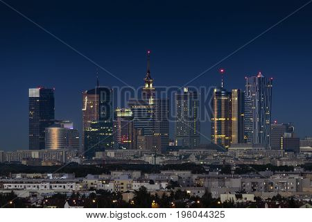 Night panorama of Warsaw city during summer time
