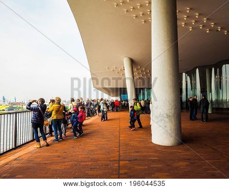 Elbphilharmonie Concert Hall Plaza In Hamburg Hdr