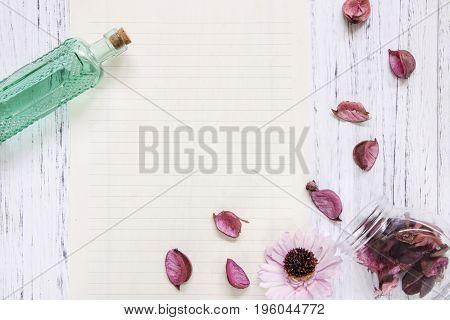 Flat Lay Stock Photography Purple Flower Petals Glass Bottle