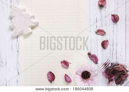 Flat Lay Stock Photography Purple Flower Petals Glass Bottle Christmas Tree Wood Craft