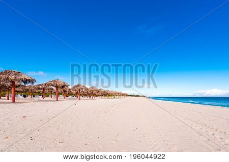 View Of The Sandy Beach In Varadero, Matanzas, Cuba. Copy Space For Text.