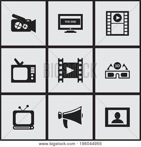 Set Of 9 Editable Movie Icons. Includes Symbols Such As Camera Strip, Film Glasses, Retro Tv And More