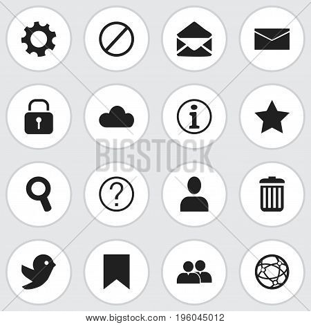 Set Of 16 Editable Network Icons. Includes Symbols Such As Sky, Bookmark, Quiz And More