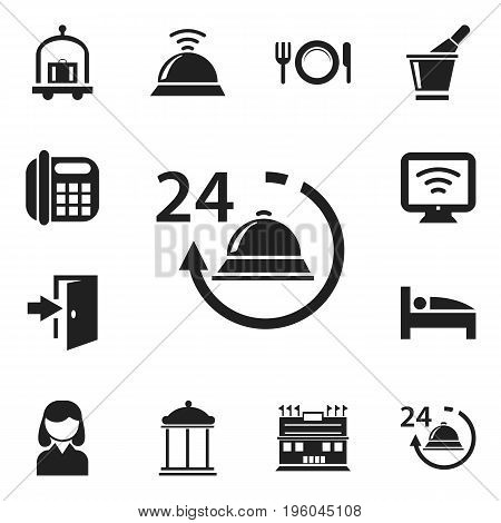 Set Of 12 Editable Travel Icons. Includes Symbols Such As Female, Wireless Tv, Champagne And More