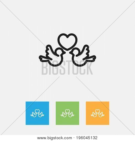 Vector Illustration Of Folks Symbol On Lovebirds Outline