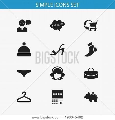 Set Of 12 Editable Trade Icons. Includes Symbols Such As Receptionist, Hosiery, Automatic Teller Machine And More
