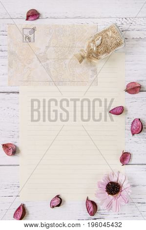 Flat Lay Stock Photography Purple Flower Petals Letter Envelope Paper Glass Bottle Sea Sand