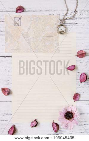 Flat Lay Stock Photography Purple Flower Petals Letter Envelope Paper