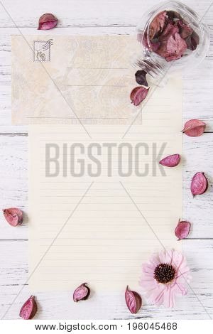 Flat Lay Stock Photography Purple Flower Petals Letter Envelope Paper Glass Bottle