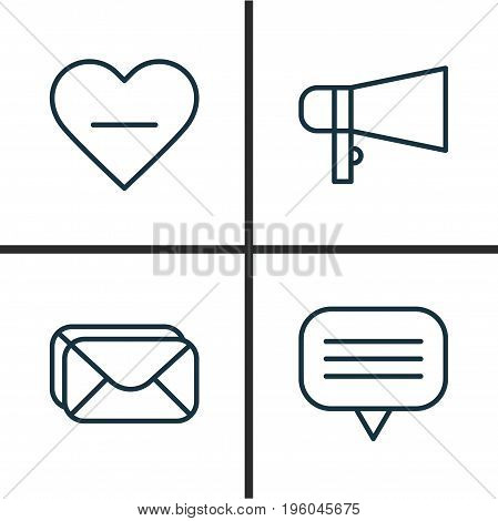 Social Icons Set. Collection Of Bullhorn, Text Bubble, Delete And Other Elements