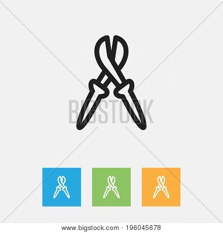 Vector Illustration Of Instrument Symbol On Nippers Outline