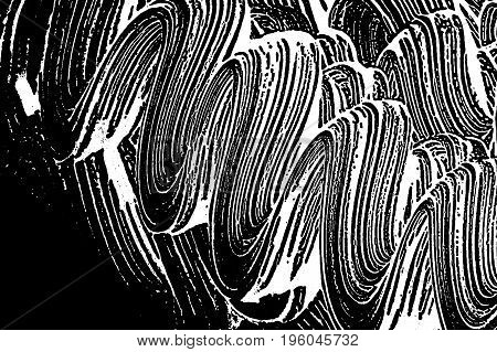 Grunge Soap Texture. Distress Black And White Rough Foam Trace Ravishing Background. Noise Dirty Rec