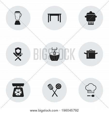 Set Of 9 Editable Cook Icons. Includes Symbols Such As Food Libra, Chef Cap, Cookery And More