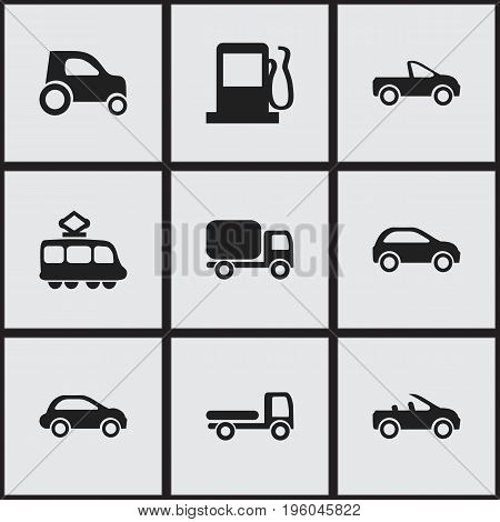 Set Of 9 Editable Transportation Icons. Includes Symbols Such As Part Of Car, Hatchback, Service Car And More
