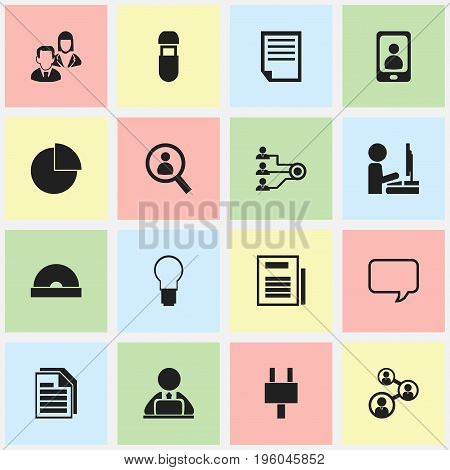 Set Of 16 Editable Bureau Icons. Includes Symbols Such As Light, Circle Diagram, Staff And More