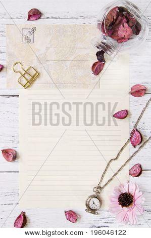 Flat Lay Stock Photography Purple Flower Petals Letter Envelope Paper Transparent Glass Bottle Pocke