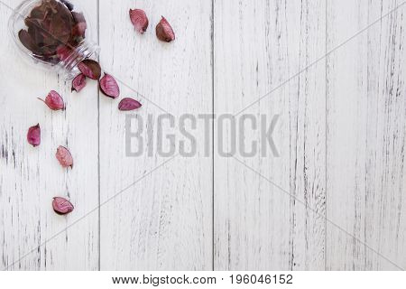Stock Photography Flat Lay Vintage White Painted Wood Table Purple Flower Petals