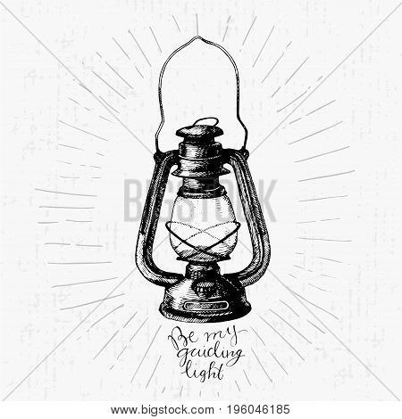 Vintage hand drawn vector lantern with lettering