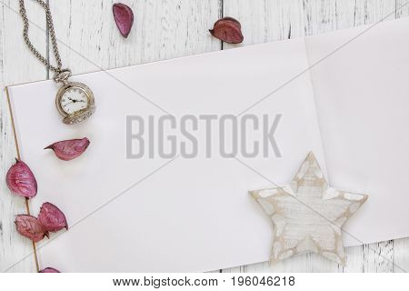 Stock Photography Flat Lay Vintage White Painted Wood Table Purple Flower Petals Pocket Clock Star C