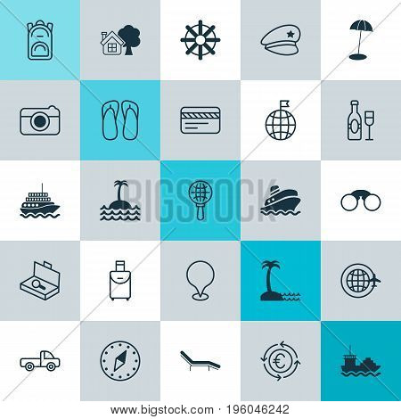 Tourism Icons Set. Collection Of Island Beach, Vehicle Car, Ranch Home Elements