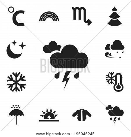 Set Of 12 Editable Weather Icons. Includes Symbols Such As Midnight, Zodiac Sign, Morning And More