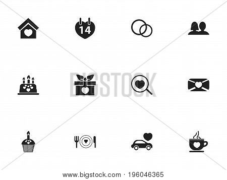 Set Of 12 Editable Love Icons. Includes Symbols Such As Jewelry, Loupe, Mail And More