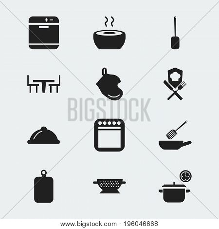 Set Of 12 Editable Restaurant Icons. Includes Symbols Such As Cutting Surface, Soup, Spatula And More