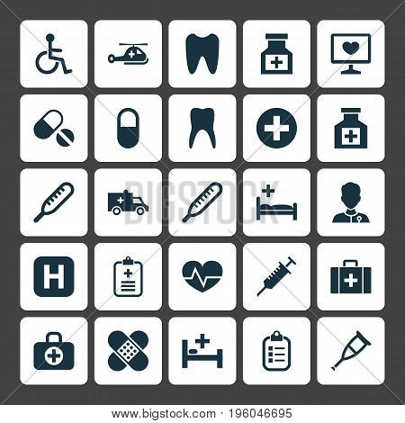 Medicine Icons Set. Collection Of Disabled, Drug, Tent And Other Elements