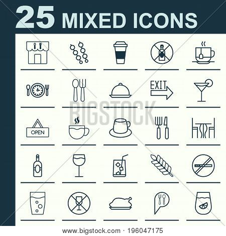 Cafe Icons Set. Collection Of Board, Lemon Juice, Lemonade And Other Elements