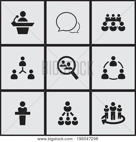 Set Of 9 Editable Business Icons. Includes Symbols Such As Debate, Human Resouces, Speaker And More