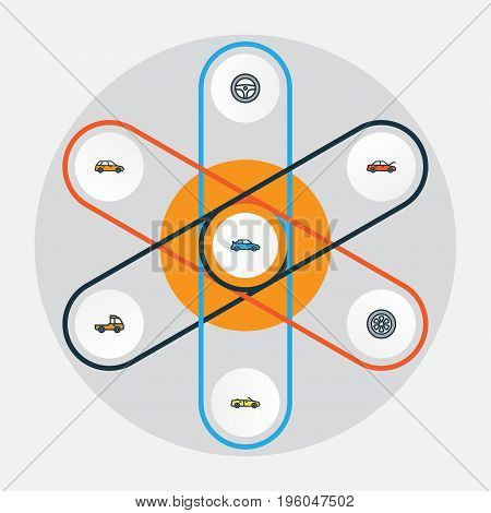 Automobile Colorful Outline Icons Set. Collection Of Pickup, Rudder, Cabriolet And Other Elements