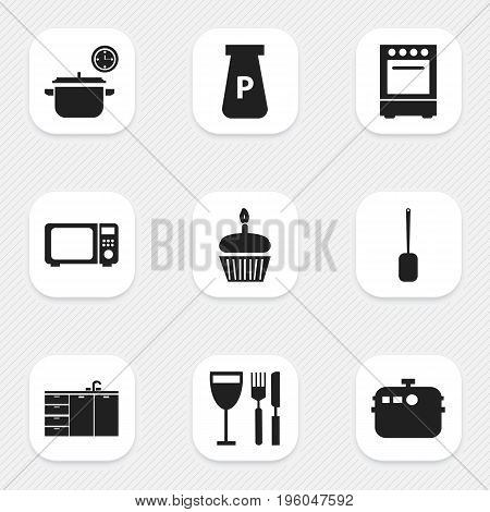 Set Of 9 Editable Kitchen Icons. Includes Symbols Such As Powdered, Tableware, Spatula And More