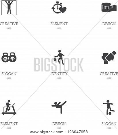 Set Of 9 Editable Sport Icons. Includes Symbols Such As Acrobatics, Health Time, Jogging And More