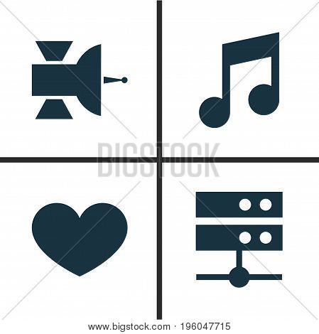 Music Icons Set. Collection Of Musical Note, Communication Antenna, Heart And Other Elements
