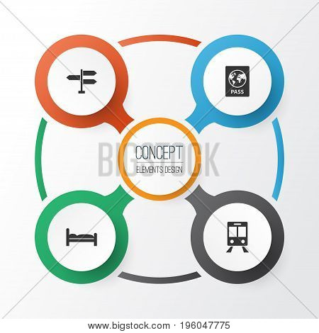 Traveling Icons Set. Collection Of Certificate, Direction, Doss And Other Elements