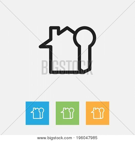 Vector Illustration Of Family Symbol On Rent Home Outline