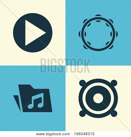 Multimedia Icons Set. Collection Of Start, Timbrel, Megaphone And Other Elements