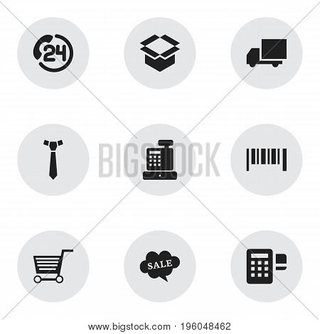Set Of 9 Editable Trade Icons. Includes Symbols Such As Device, Necktie, Backing Call And More