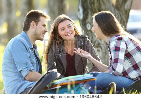 Three students talking after classes beside books and ruckpacks sitting on the grass in a park