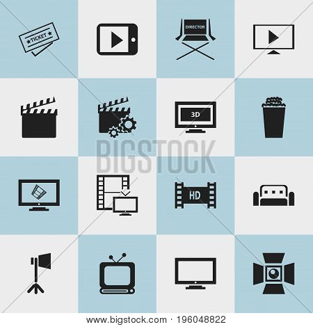 Set Of 16 Editable Filming Icons. Includes Symbols Such As Popcorn, Monitor, Start Video And More