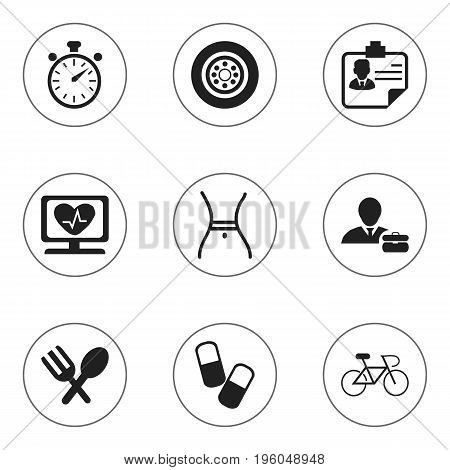 Set Of 9 Editable Complicated Icons. Includes Symbols Such As Identification, Tire, Velocipede And More