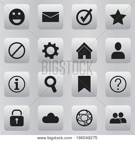 Set Of 16 Editable Network Icons. Includes Symbols Such As Security, Sky, Group And More