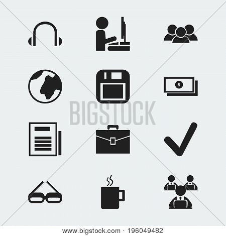 Set Of 12 Editable Office Icons. Includes Symbols Such As Mug, Page, Control And More