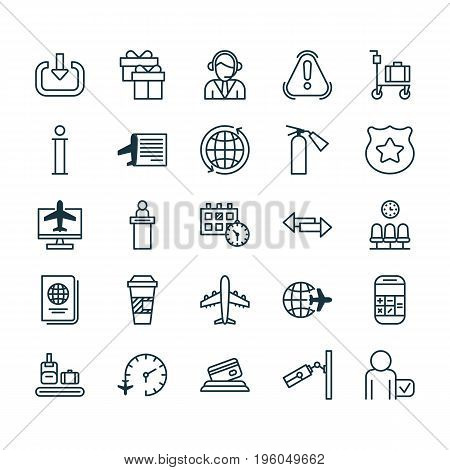 Travel Icons Set. Collection Of Takeaway Coffee, Information, Siren And Other Elements