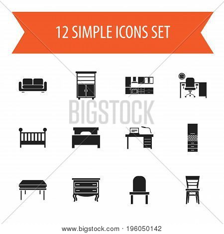 Set Of 12 Editable Furnishings Icons. Includes Symbols Such As Interior, Cooking Furnishings, Bed And More